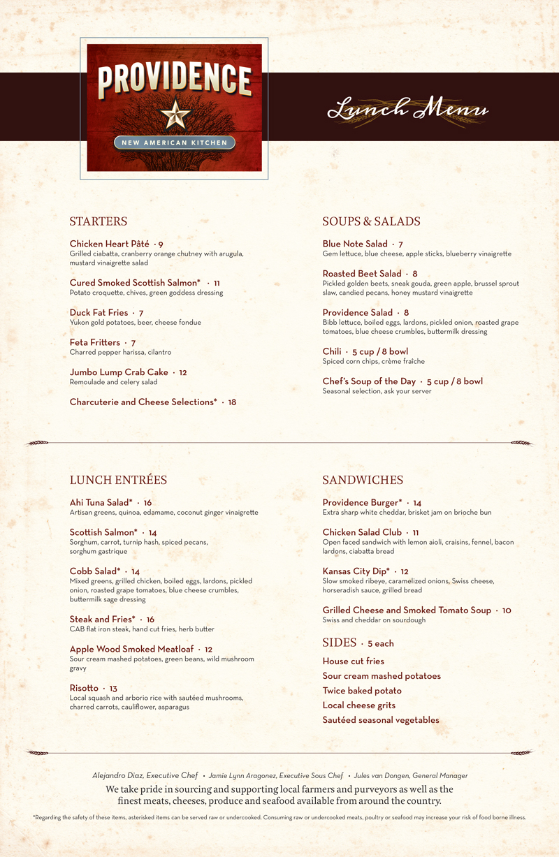 Providence New American Kitchen Menus